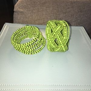 SALE!! ✨2 grn handcrafted beaded cuff bracelets! ✨